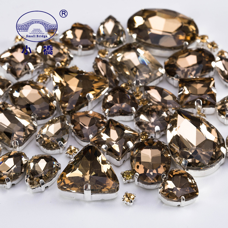 Glitter Crystal Sew On Rhinestone Light Brown Stones For Clothes Decoration Loose Glass Rhinestones With Claw 50PCS/PACK S051