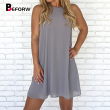 BEFORW 2019 Women Sleeveless Summer Dress Sexy O Neck Off Shoulder Mini Chiffon Dresses Female Casual Beach Dress Vestidos