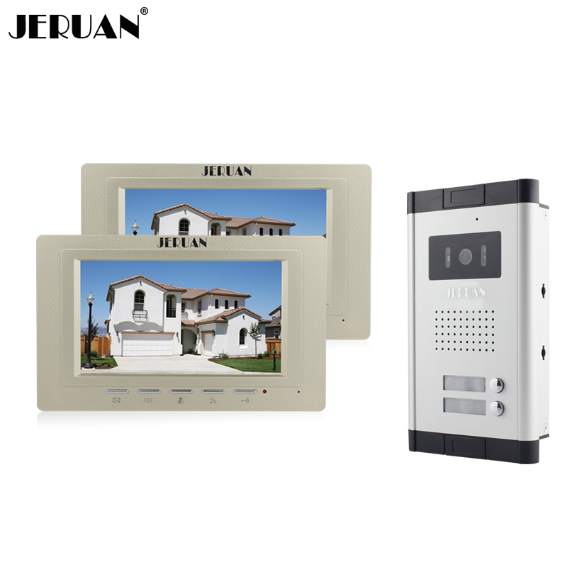 JERUAN Wholesale New Home Apartment Intercom System 2 Monitors Wired 7 Color HD Video Door Phone intercom System FREE SHIPPING brand new apartment intercom entry system 2 monitors wired 7 color video door phone intercom system for 2 house free shipping