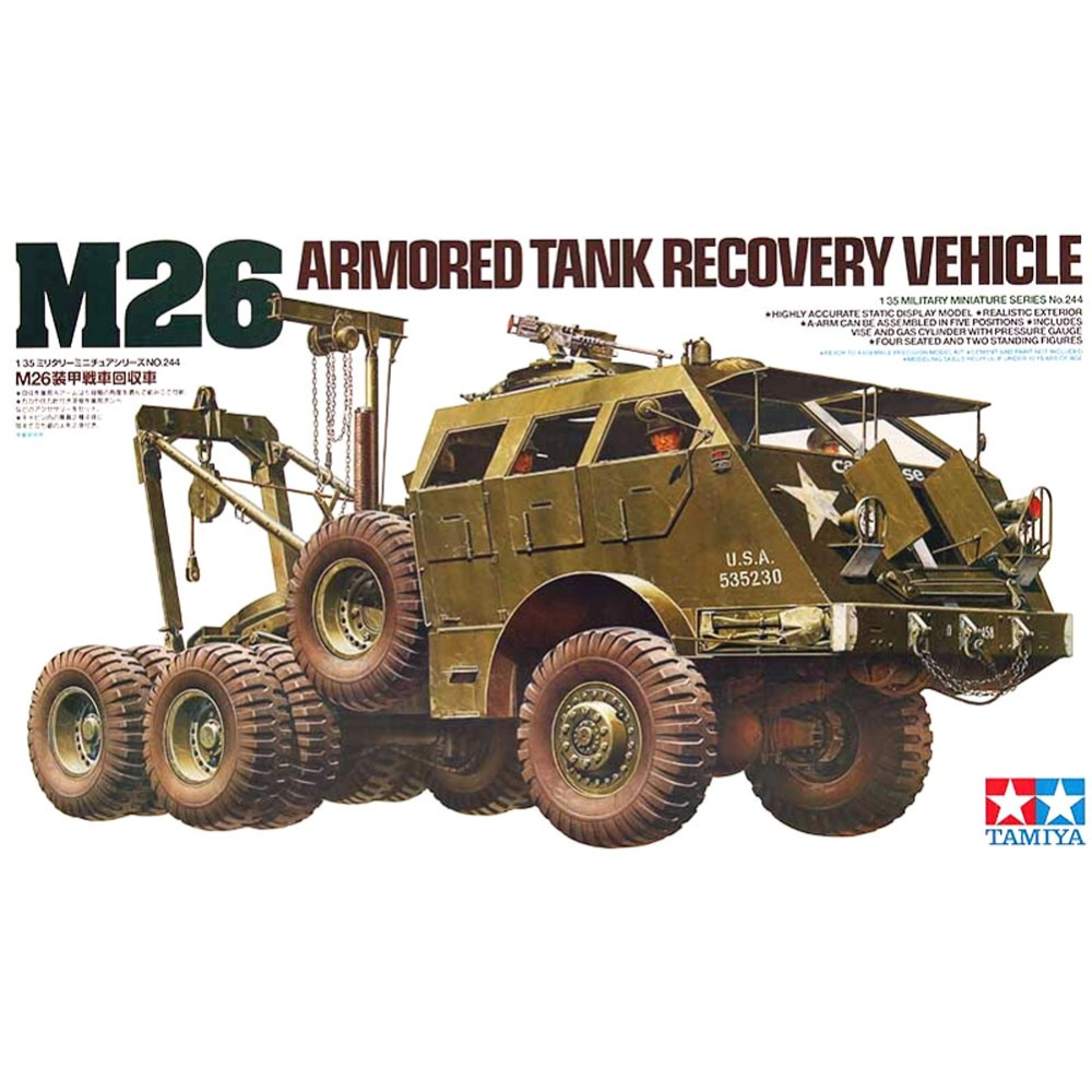OHS Tamiya 35244 1/35 M26 Armored Tank Recovery Vehicle Military Assembly AFV Model Building Kits ohs tamiya 35326 1 35 u s main battle tank m1a2 sep abrams tusk ii military assembly afv model building kits