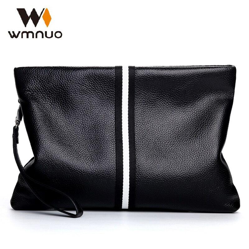 Wmnuo férfi kézi táska kézitáska valódi bőr tehénbőr 2018 új divat férfi pénztárca tengelykapcsoló tervező férfi boríték táska koreai kiadás