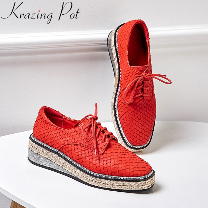 2019 genuine leather lace up platform high heels lace up wedge women pumps brand sneaker red