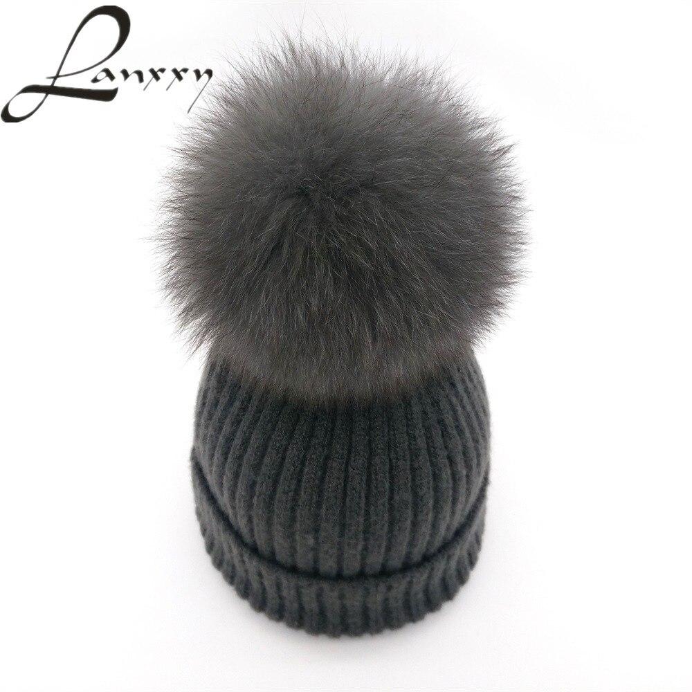Lanxxy New Genunie Fox Fur Pom Poms Hat for Women Girls Hat Gorro Feminino Wool Knitted Skullies Beanies Cap Female Winter Hats casio lcw m500td 1a