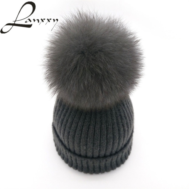 Lanxxy New Genunie Fox Fur Pom Poms Hat for Women Girls Hat Gorro Feminino Wool Knitted Skullies Beanies Cap Female Winter Hats