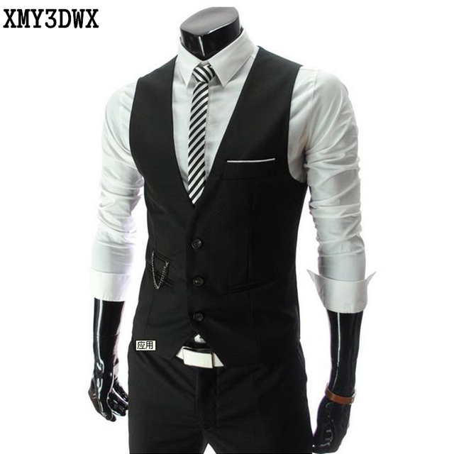 2e5608319b5 XMY3DWX 2017 New Men s Vests Hot Sale   Men s suits vest Autumn Male Casual  Slim V-neck Vest Business Suit Vests business