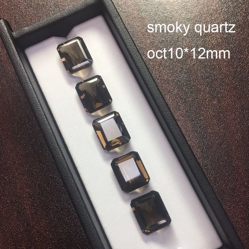 Tbj Natural smoky quartz oct10 12mm approx 5 5ct natural loose gemstone for silver jewelry mouting