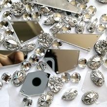 9 микс покрытые серебряным зеркалом Funishing Olve Diy камни и Кристаллы Стразы для шитья свадебной одежды Аппликации нашивки на платье
