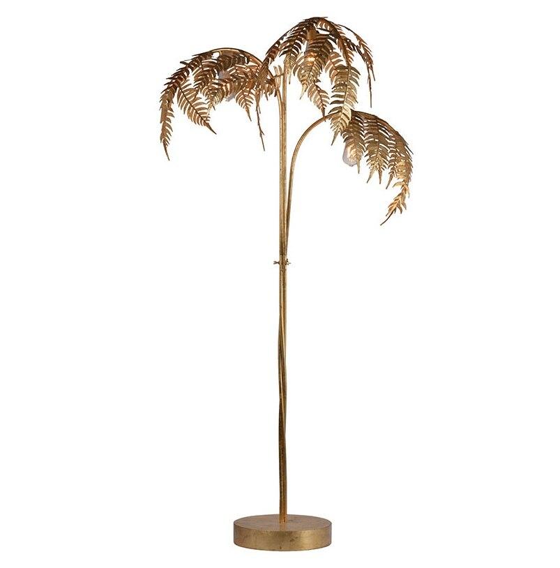 Lampadaire palmier en métal 180cm avec finition dorée/arbre doré 3 lumières