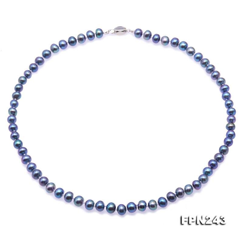 Unique Perles bijoux Magasin Paon Bleu AA 7-7.5mm Plat Rond D'eau Douce Perle Collier 45 cm Fermoir En Argent