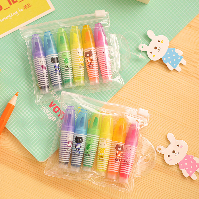New mini Multi colour 6 colors a set neon pen marker pen neon marker pen fre for chidren gift eshipping on sale