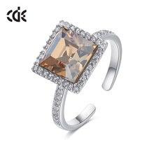Centrum rozwoju przedsiębiorczości kwadratowy geometryczny pierścień ozdobione kryształy Swarovskiego pierścionki otwarte dla kobiet ślub pierścionki zaręczynowe biżuteria