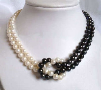 Beautiful! 2Strands 8-9mm Natural Black & White Akoya Cultured Pearl Necklace>>> women jewerly Free shipping