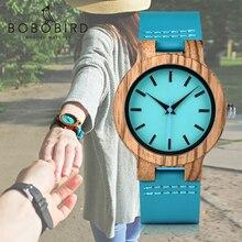 BOBO BIRD Reloj clásico de madera de cebra para hombre y mujer, reloj de cuarzo con diseño de azul añil, Optiom con ESTUCHE DE DOS, tamaño 33mm y 45mm