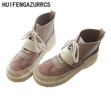 HUIFENGAZURRCS-Arts and crafts hand sewing, lace round head boots, retro Martin boots, comfortable soft bottom college wind boot huifengazurrcs vintage leather boots super soft bottom arts and crafts hand made original women s shoes short ankle boots