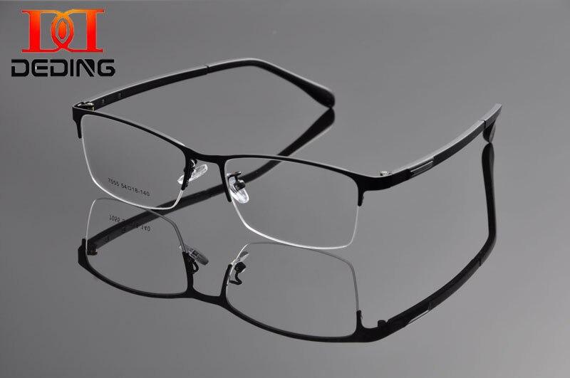 Deding Elegantní Muži Obchodní Móda Kov Semi-Rim obdélník Oční brýle Rám Pánské čočky Brýle vidros semi-aro DD1180