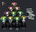 10 PCS Colorido de Cristal Maçanetas de Gaveta Do Armário Puxe A Alça De Vidro Diamante Móveis Puxadores e Alças com Parafuso