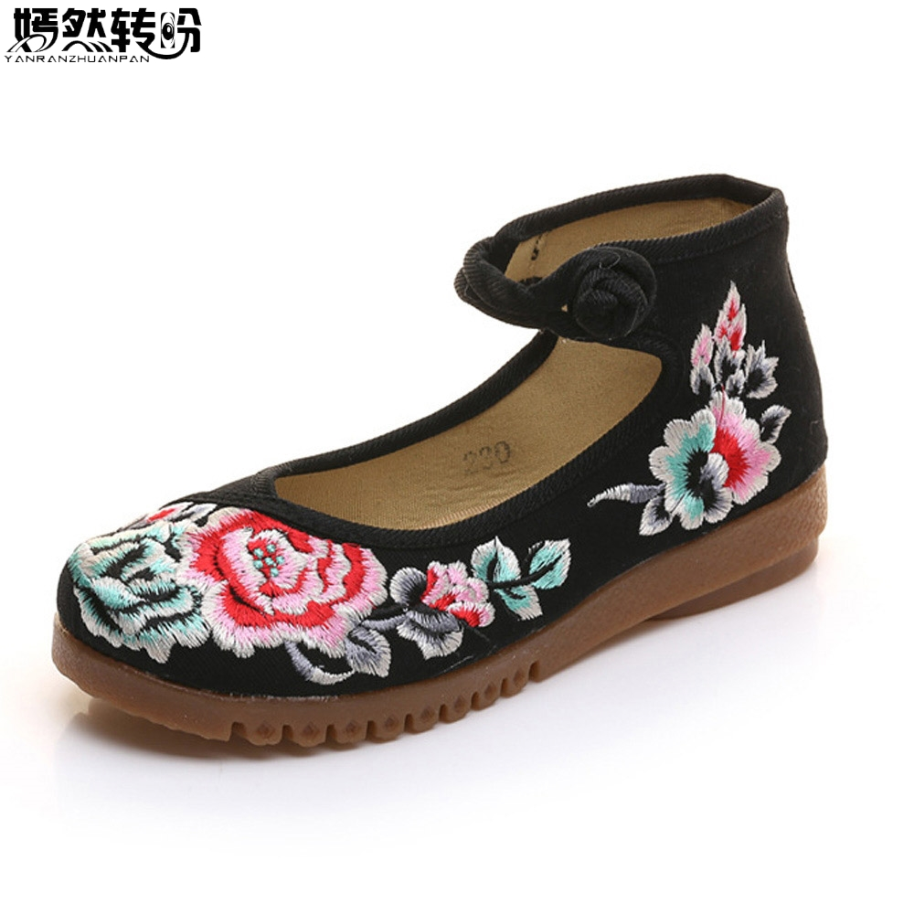 Chinese Women Flats Shoes Peony Embroidery Soft Comfortable Canvas Embroidered Single Dance Ballet Shoes Plus Size 41 canvas shoes women black red jazz shoes ballet dance shoes split heels sole sl02138b2