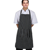 1PC Couple Adjustable Sofas Black Stripe Bib Apron With 2 Pockets Chef Kitchen Cook Tool