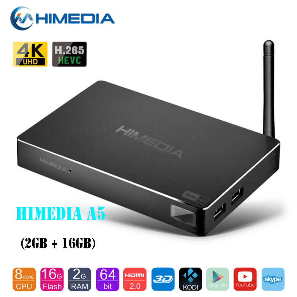 HIMEDIA A5 Bluetooth 4.0 Android TV Box 3D 4K 2GB 16GB KODI VP9 HDR10 WiFi Network Smart TV Box PK X96 H96 Pro Mi Box 3 TV Box 2018 lastest himedia h8 pro 2gb 16gb octa core uhd smart android tv box wifi 3d 4k media player pk mi box 3 x96 mini h96 pro x92