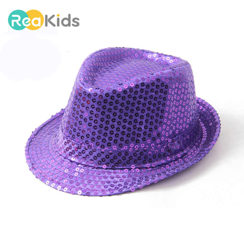 66c6b1d93a9 REAKIDS Child Girls Fashion Show Party Jazz Hat Brilliant Glitter Sequins  Hat Show Stage Props Beading
