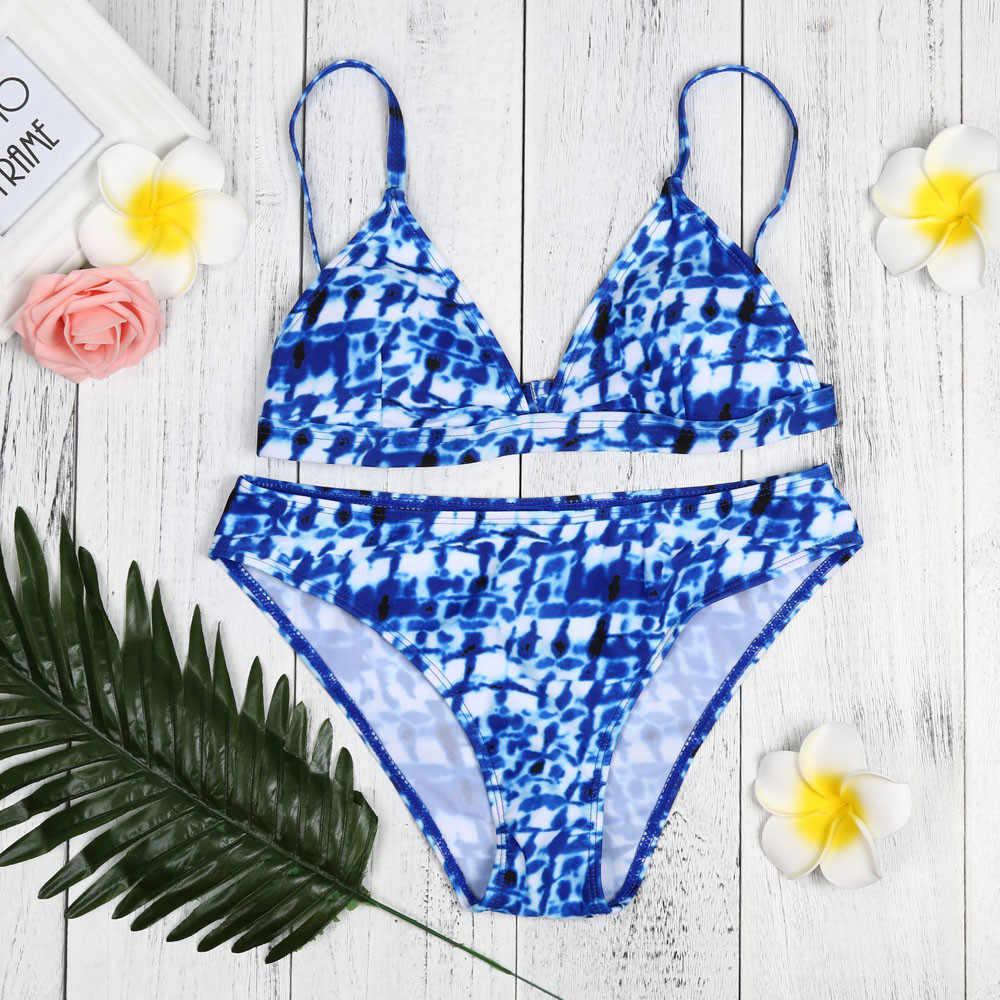 Купальник-бикини для девушек с принтом «Голубая линия воды», сексуальное бикини с синим леопардовым принтом, бикини на бретельках из двух частей, пляжная одежда, Прямая поставка