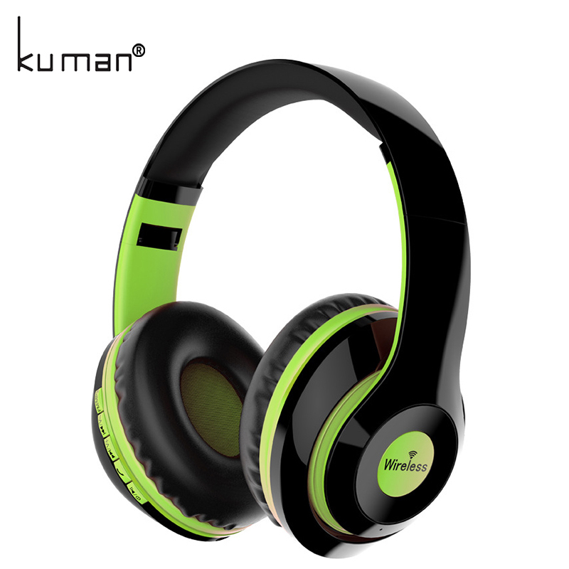 Kuman Sports Headsets Stereo Wireless Headphones HIFI Bluetooth Earphone with 3.5mm Conversion Line For Phone PC Gaming YL-HH1 gorsun e1 sports wireless bluetooth headsets stereo noise reduction earphone heavy bass folded headphones with microphone for pc