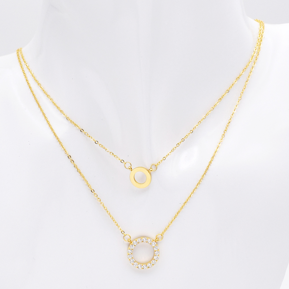 c9576342e69 US $4.74 5% OFF|New Fashion Design Women Necklace Stainless Steel Zircon  Double layer Necklace Women Luxury Jewelry Best Gift For Wedding-in Chain  ...