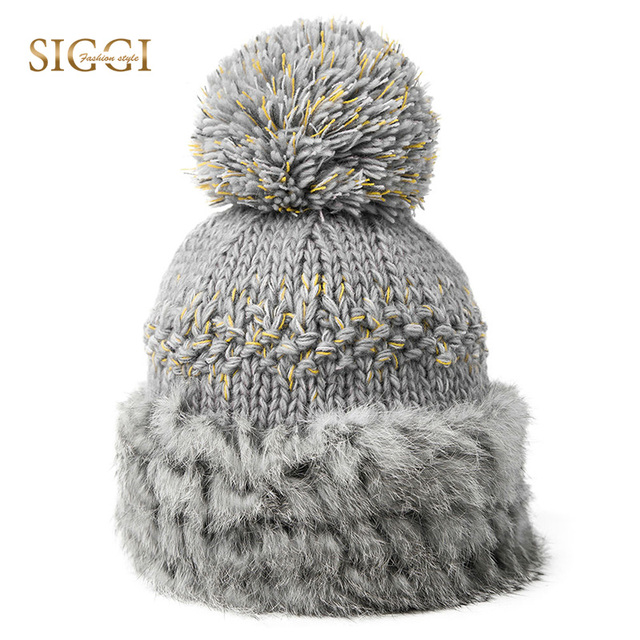 SIGGI Winter Warm Women 100% Rabbit Fur Beanies Skullies For Girls Youth  Patchwork Acrylic Knitted 6ce973ded21d