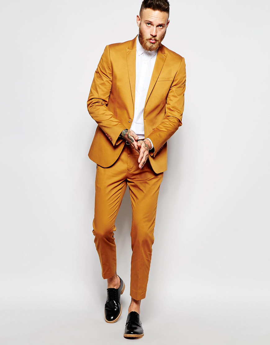 Latest Coat Pant Designs Yellow Men Suits Slim Fit Custom Prom Party ...