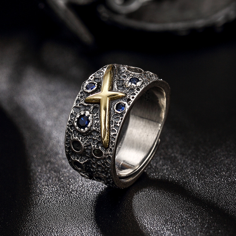 2018 Punk Style 100% Authentic 925 Sterling Silver Starry Sky Ring For Men Women Fine Jewelry Special Style Fine Jewel