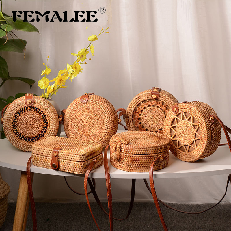 Circular Rattan Beach Bags 2019 New Ins Summer Straw Bags Purse Handmade Bali Women Shoulder Bags Woven Boho Multi Style Handbag