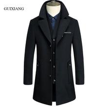 2017 New arrival winter style Men's boutique woolen coat business casual liner detachable men long woolen trench coat size M-3XL