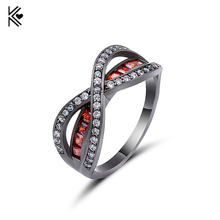 Light Red Grade Separat Cross Ring Fashion White & Black Gold Filled Jewelry Vintage Wedding Rings For Women Birthday Stone Gift
