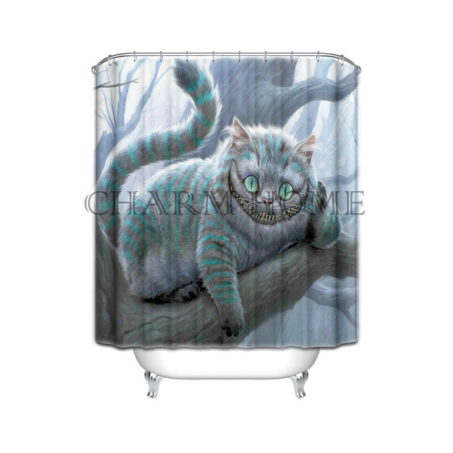 CHARMHOME Hot Selling Cheshire Cat Custom Only Design Waterproof Bath Shower Curtain Bathroom Curtains 36x72