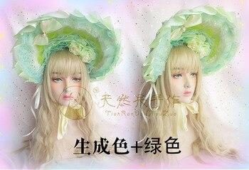 Gorro Vintage princesa dulce Lolita Rosa tocado precioso Top gótico sombrero de Sol de encaje victoriano alambre suave borde del capó