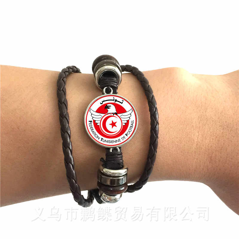 Totem Of Football Team Peru,Croatia,Tunisia,Saudi Arabia,Senegal Football Fans Glass Dome Leather Bracelet Souvenir Gifts
