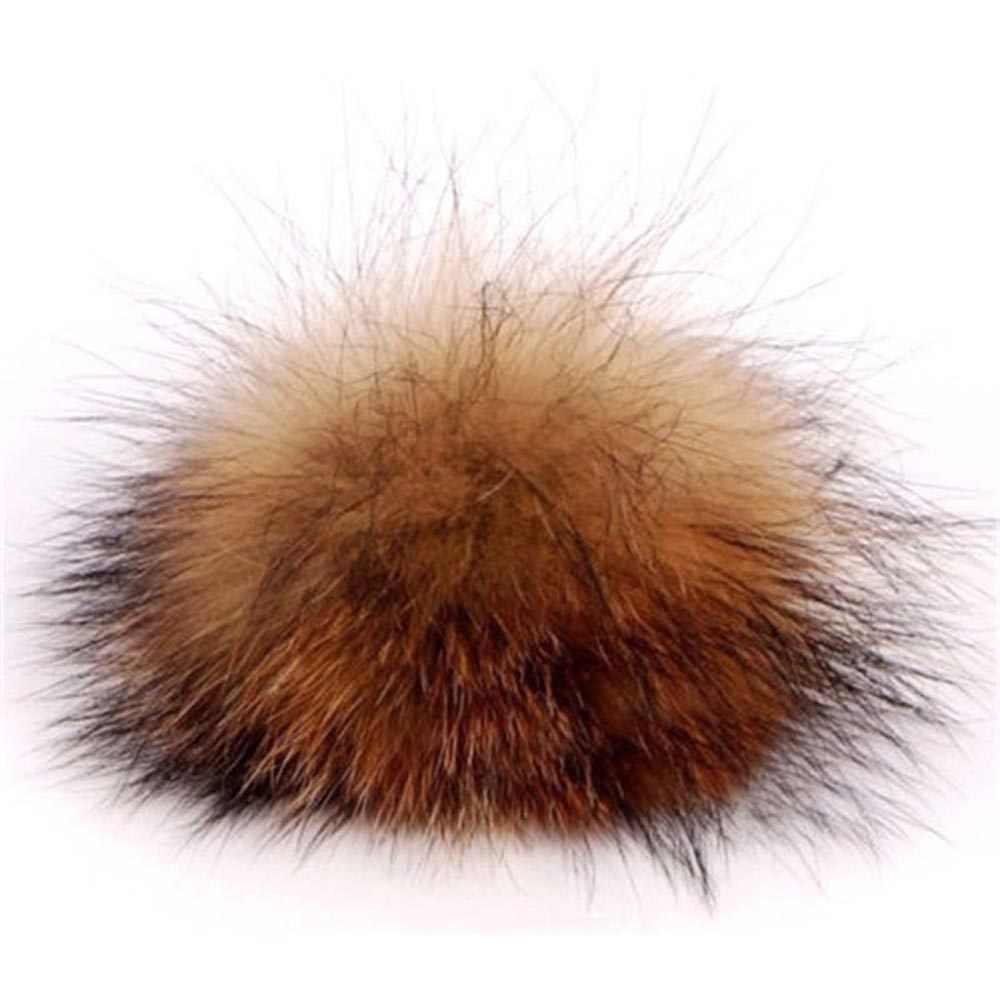 1PC Vrouwen Pluizige Bont Pompom Ballen Accessoires Gebreide Mutsen DIY Cap Sjaals Natuurlijke Corsage Kleding Hoofddeksels Decor