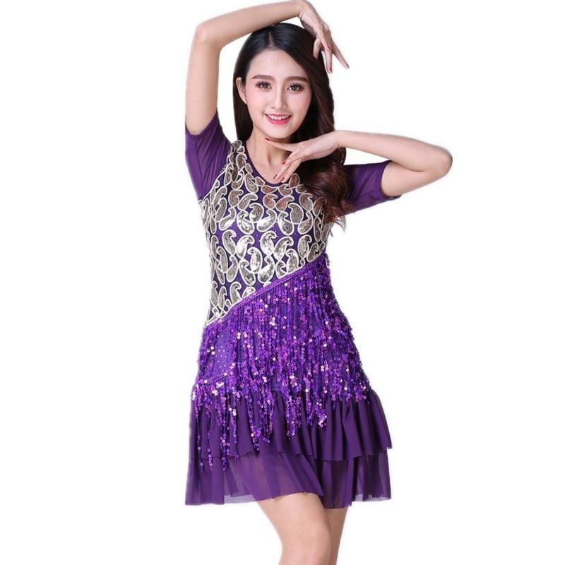 New Latin Ballroom Fashion Dance Dress Fringe Sequined M/L/XL/2XL/3XL Two Color Black Blue Lady Latin Dance Clothers