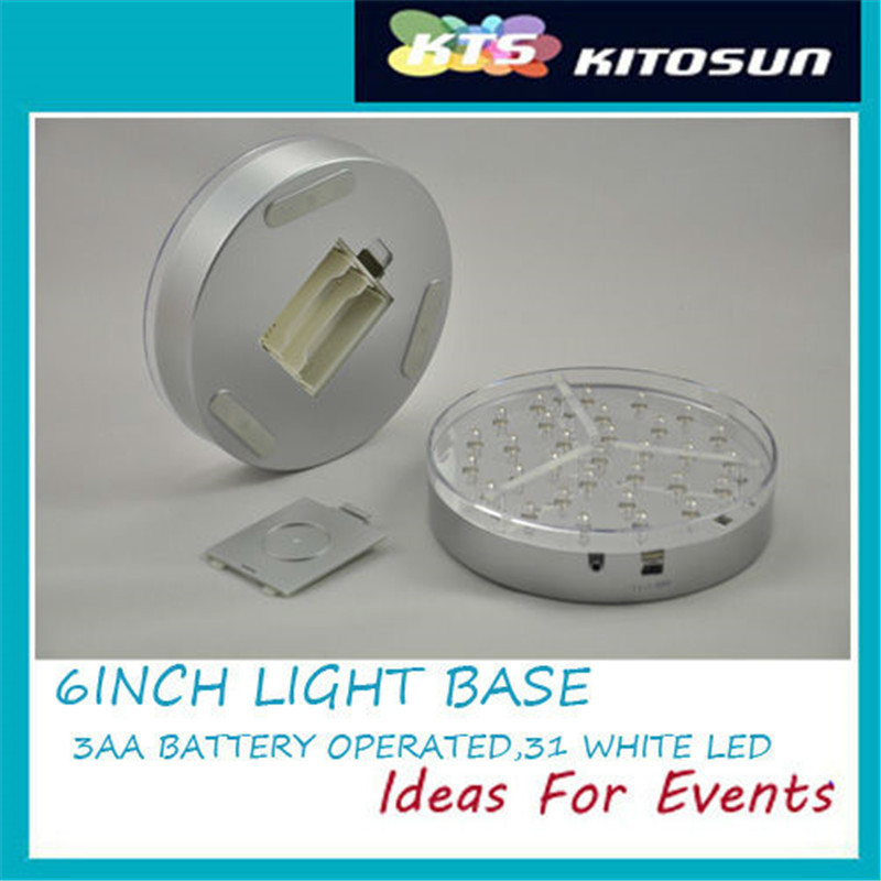 (1Piece/ Lot) Wedding Centerpiece Lighting Mirror Center 31pcs Super Bright White LED 6inch Cerpiece Light Base
