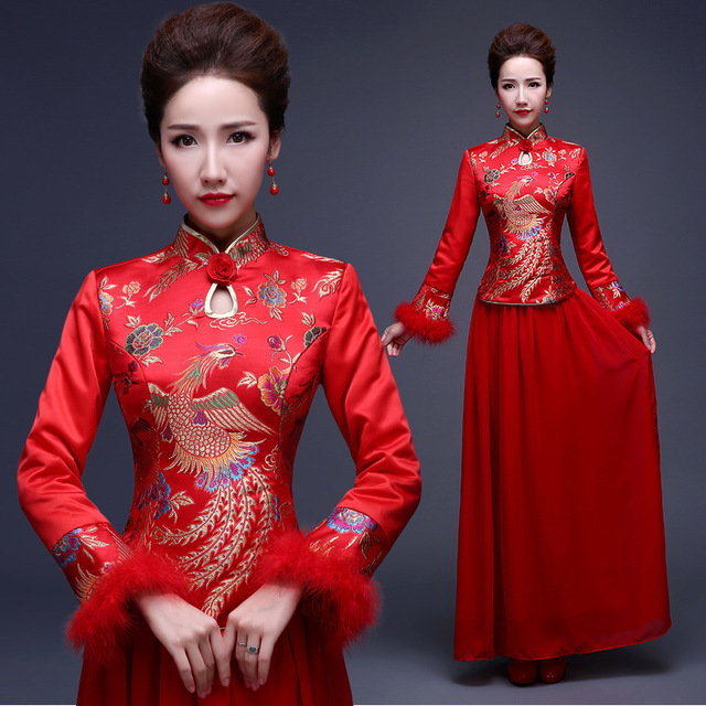 Traditional Chinese Dress Qipao Red Long Sleeves Cheongsam Cotton Bride Evening  Gowns Phoenix Oriental Wedding Dresses 187305c36816