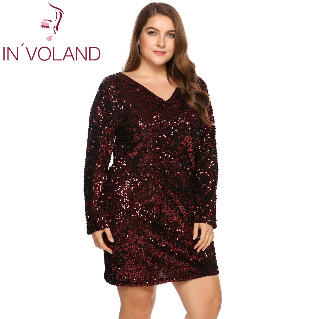 IN'VOLAND Women's Dress Plus Size Sexy Deep V-Neck Long Sleeve Sequined Bodycon Cocktail Club Sheath Loose Ladies Dresses