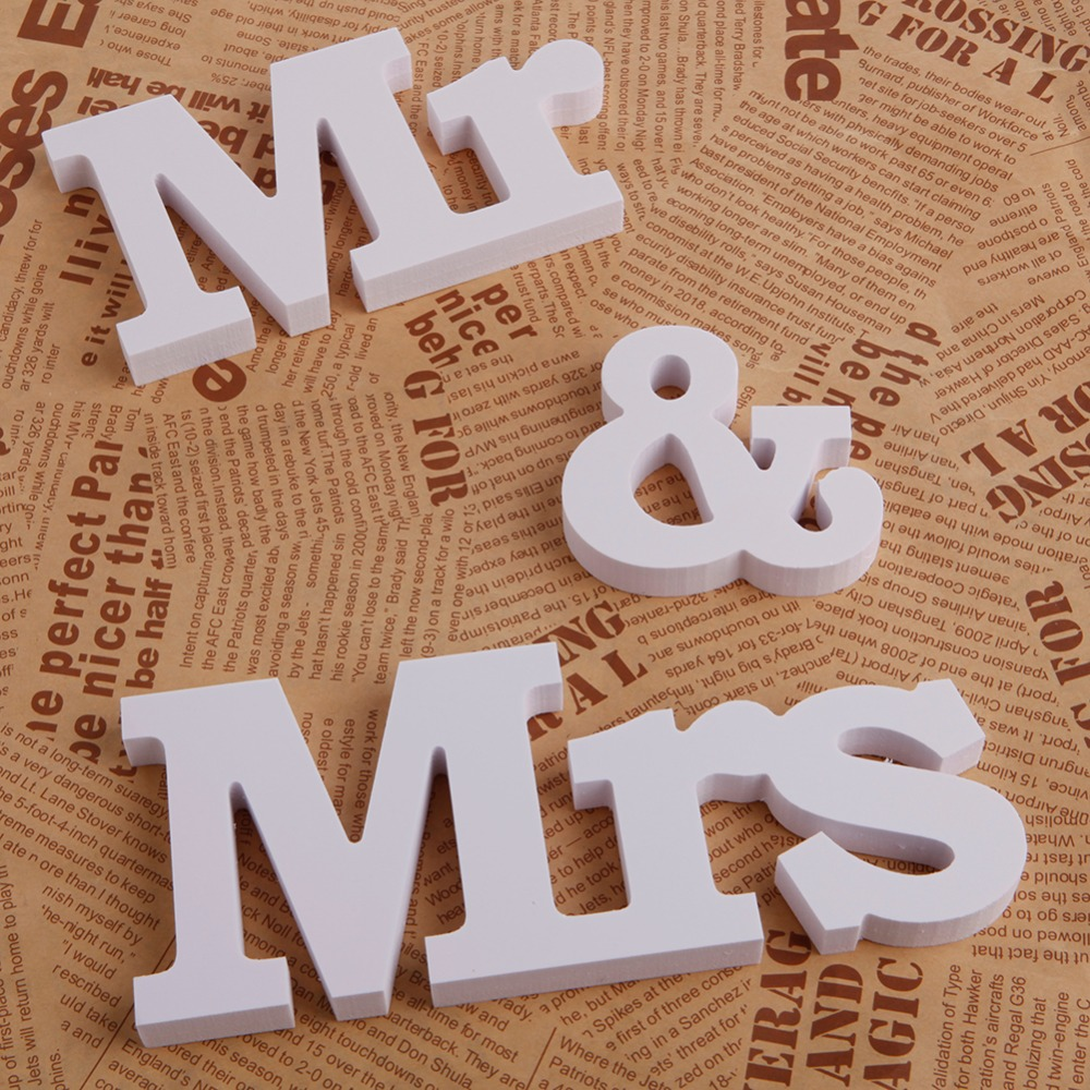 Wedding Reception Sign Solid Wooden Letters Mr & Mrs Table Alphabet Decoration-