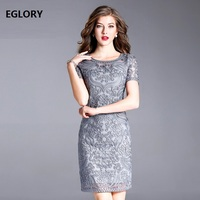 Navy Blue Grey Dress Hot Women Gorgeous Dress Allover Embroidery Short Sleeve Bodycon Plus Size Party Pencil Dress XXXL Female