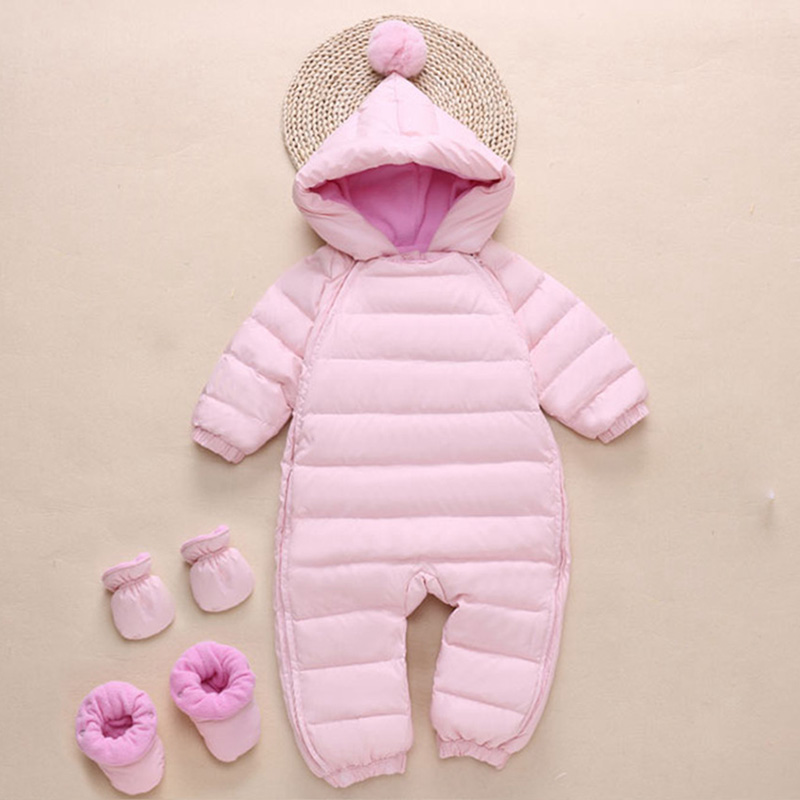 Winter Baby Romper Newborn Clothes Duck Down jumpsuit Infant Thick Warm Outerwear Girls Boy Outdoor Snowsuit overalls baby girl 2018 cold winter warm thick baby child girl hoody long outerwear pink duck down