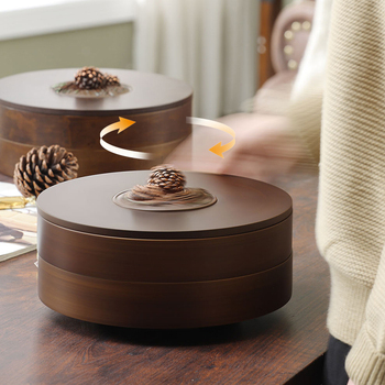 Europe Solidwood Divider Cover Dry Fruit Box Living Room Creative Melon Seeds Confectionery Plate Home Kindheart Dry Fruit Plate