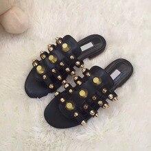 2017 New Arrival Party Beach Dress Shoes Women High Quality Flat Slides  Rivets Embellished Sandals Wholesale 63380a1808af