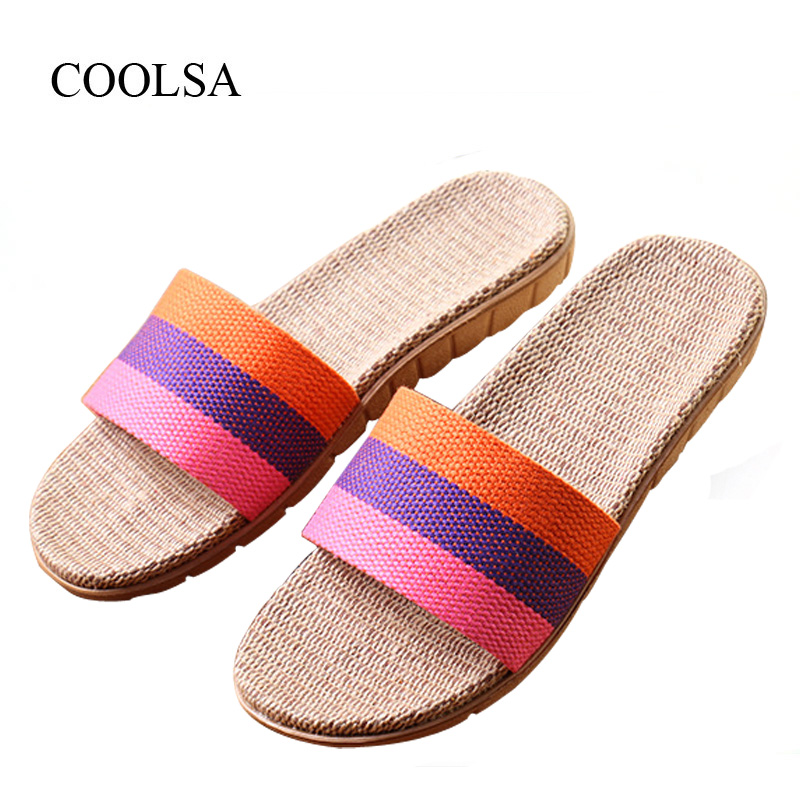 COOLSA Women's Summer Striped Non-slip Linen Slippers Women's T-tied Hemp Vamp Breathable Flax Slippers Women's Indoor Slippers coolsa women s summer flat cross belt linen slippers breathable indoor slippers women s multi colors non slip beach flip flops