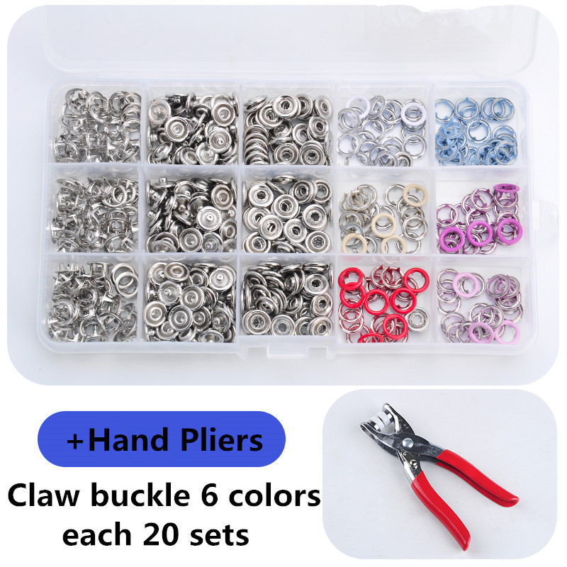 Melange color of 6 120 sets of environmentally friendly 9.5 mm hollow claw clasp box packaging + a set of installation tools