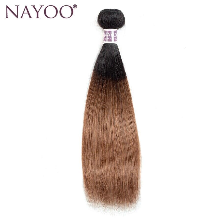 NAYOO Ombre Peruvian Straight Färgade Non-Remy Human Hair Weave - Mänskligt hår (svart) - Foto 1
