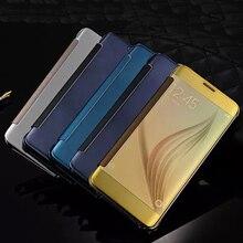 Для Samsung Galaxy J3 2015 J300 2016 Sm-j320f J320 Чехол Флип Посмотреть гальванических Зеркало Жесткий Прозрачная крышка для Sumsung J3 Чехлы
